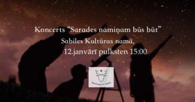 """Koncerts """"Sarades namiņa"""" atjaunošanai 12. janvārī Sabiles kultūras namā"""